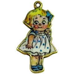 Rare Art Deco Two-Sided Enamel Little Girl Carrying Doll Gold Charm