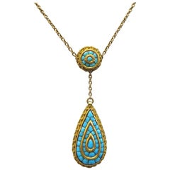 Victorian 1890s-1900s Persian Turquoise Necklace / 14 Karat Yellow Gold
