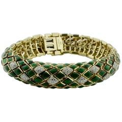 David Webb Green Enamel and Diamond Bracelet in 18 Karat and Platinum