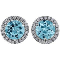 Aquamarine Diamond Gold Stud Earrings