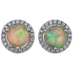 Cabochon Opal Diamond Gold Stud Earrings