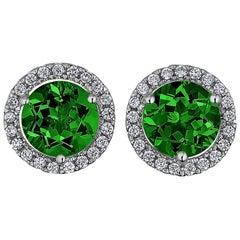 Chrome Diopside Diamond Gold Stud Earrings