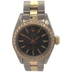 Rolex Ladies Yellow Gold Stainless Steel Diamond Oyster Perpetual Wristwatch