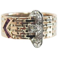 1940s Buckle Ring with Diamonds and Rubies or 14 Karat Rose and White Gold