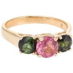 Three-Stone Pink and Green Tourmaline Ring Vintage 14 Karat Yellow Gold