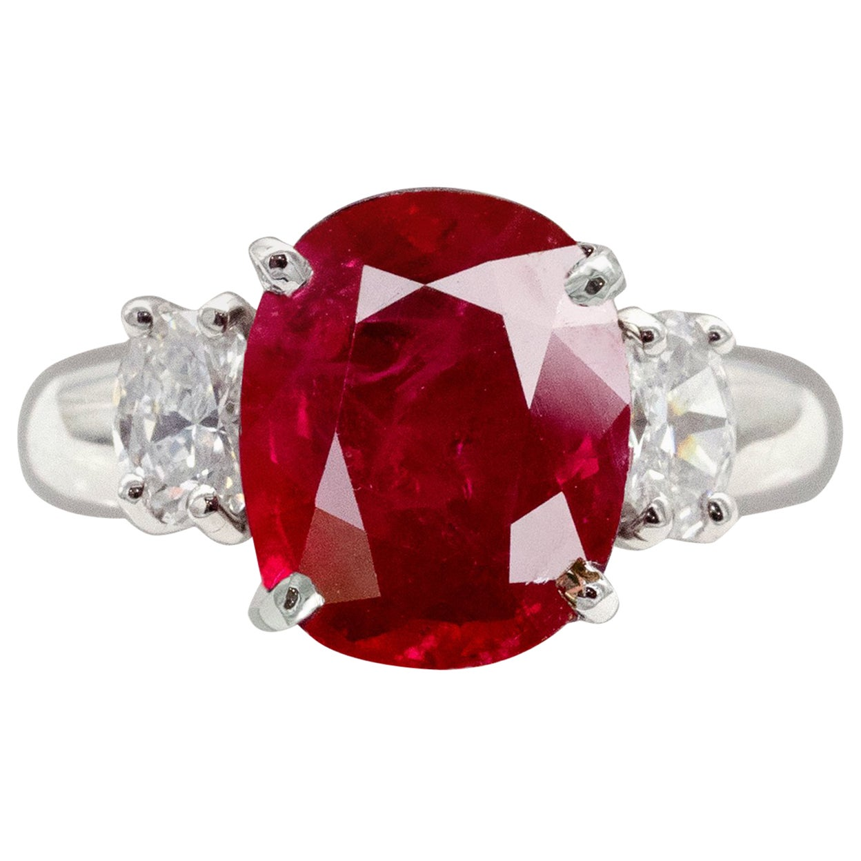 Certified Intense Red Ruby and Diamond Three Stones Ring