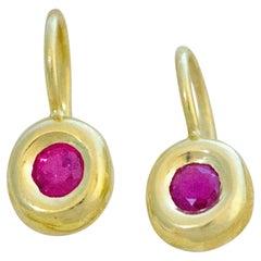 Fine Gemfields Ruby and 18 Karat Gold Earrings