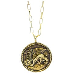 Venetian Lion 18 Karat Gold Pendant Necklace