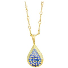 Ceylon Sapphire and Canadian Diamond 18 Karat Gold Drop Pendant