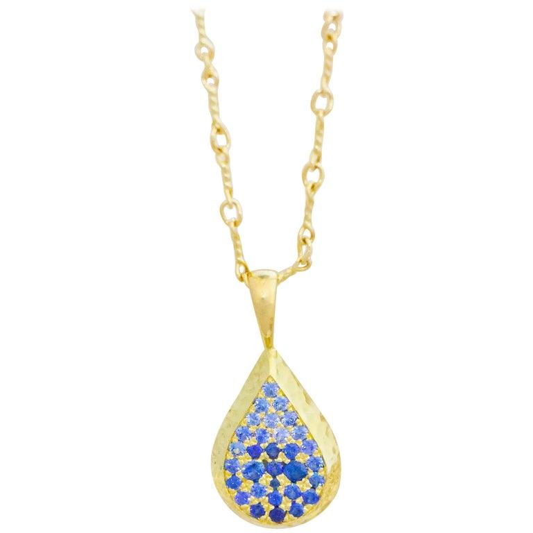 Ceylon Sapphire and Canadian Diamond 18 Karat Gold Drop Pendant Necklace For Sale