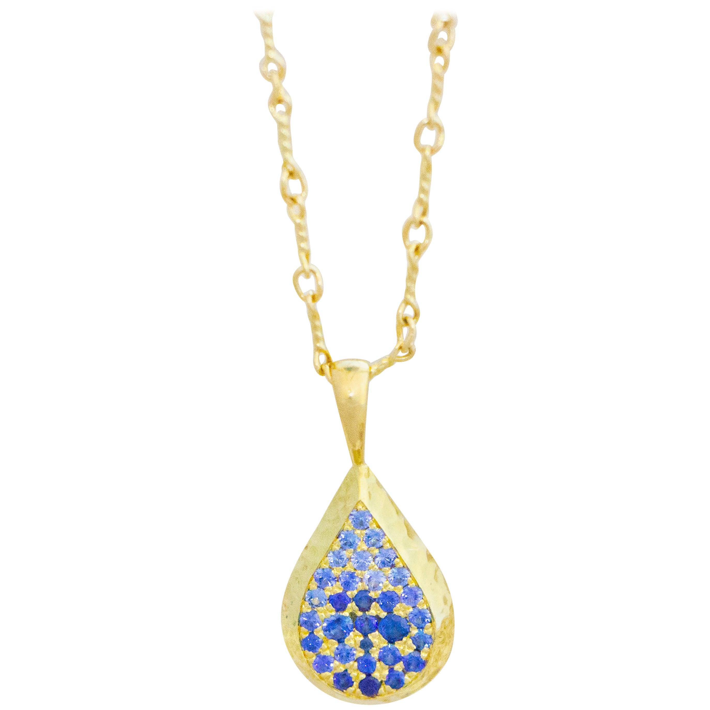 Ceylon Sapphire and Canadian Diamond 18 Karat Gold Drop Pendant Necklace