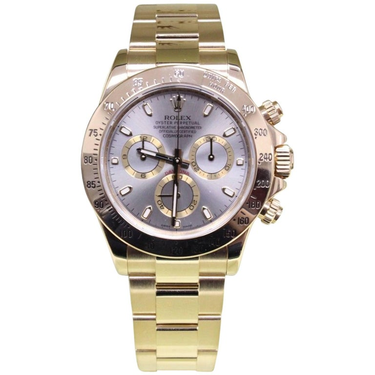 Rolex Daytona Cosmograph 116528 18 Karat Yellow Gold Box and Papers, 2014