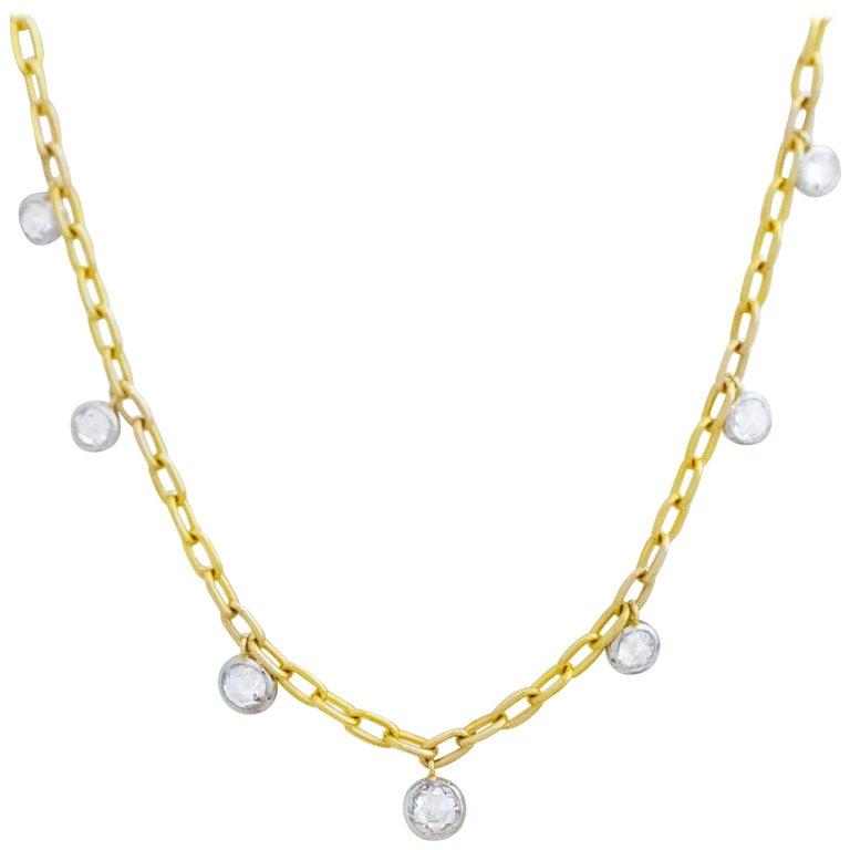 1.86 Total Carat Weight Rose Nouveau Diamond and 18 Karat Gold Choker Necklace