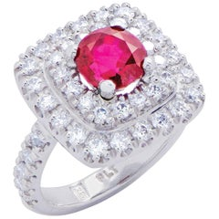 """""""The Color of Passion"""" White Gold Ring with Ruby and Diamonds"""