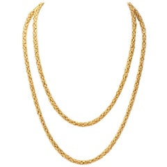 Vintage 1960s Long Byzantine Gold Chain Necklace