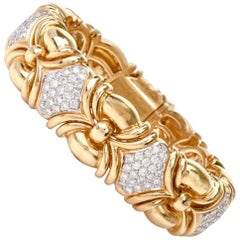 Estate Diamond 18 Karat Gold Italian Link Bracelet