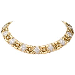 1980 Italian Diamond 18 Karat Gold Choker Necklace