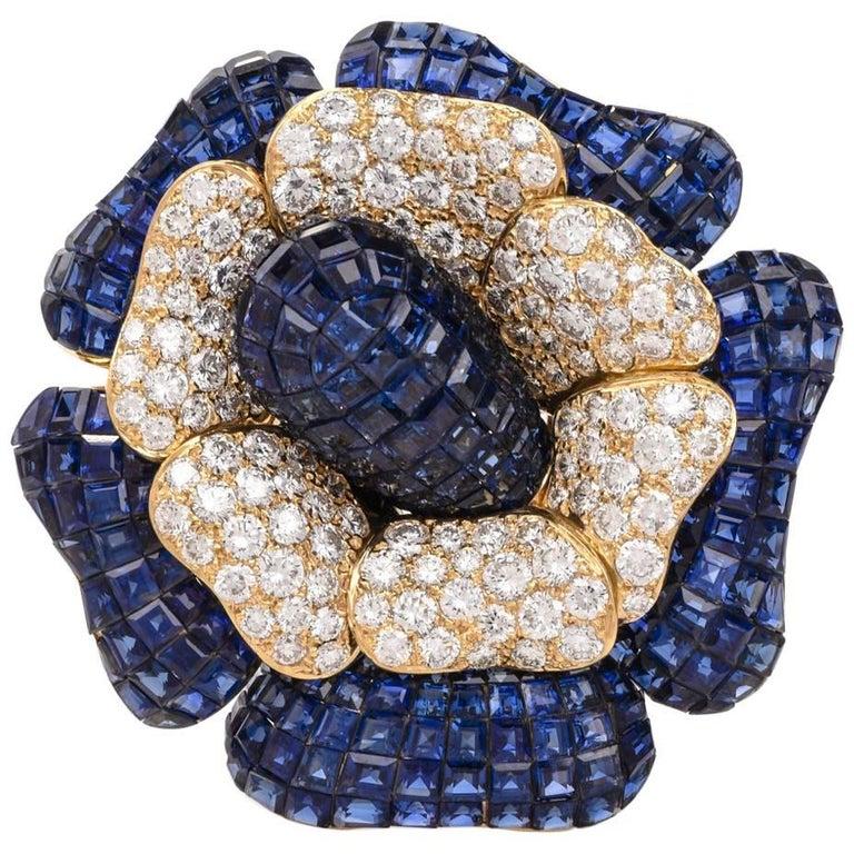 Sabbadini Invisible Mystery Set Sapphire Diamond Flower Brooch Pin