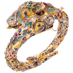 Antique Cloisonné Enamel Dragon Bangle Bracelet