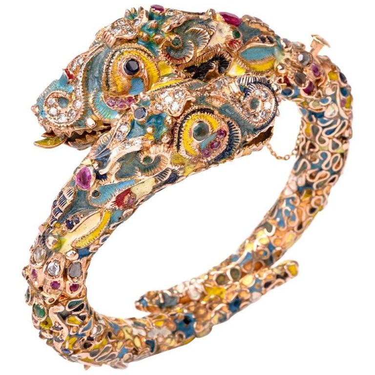 Antique Cloisonné Enamel Dragon Bangle Bracelet