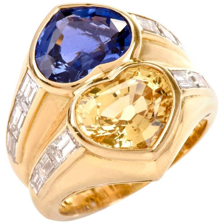 Bvlgari Natural No Heat Heart shape Sapphires and Diamond Gold Ring Bulgari