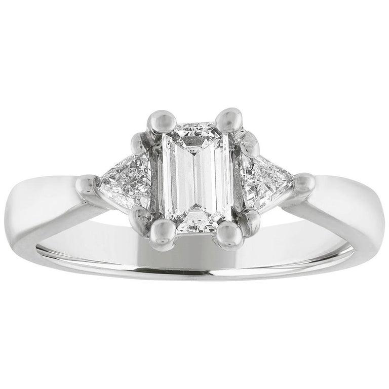 0.71 Carat Emerald Cut Diamond Three-Stone Gold Ring