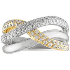 0.86 Carat Diamond Triple Criss Cross Gold Ring