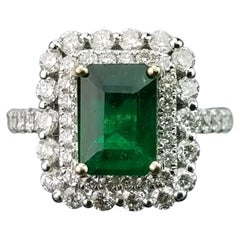 2.02 Emerald and Diamond Cocktail Ring