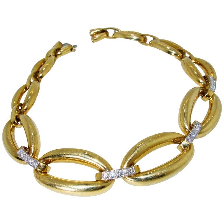 David Webb 1960s Gold and Diamond Necklace
