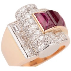 Diamonds and Rubies French Art Deco Cocktail Ring