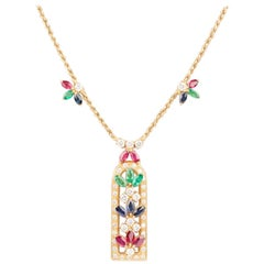 French Diamonds Rubies Sapphires and Emeralds Necklace
