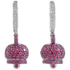 Rubies Diamonds White Gold Earrings