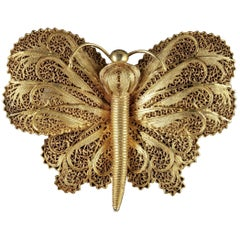 Antique Victorian Butterfly Brooch Silver 18 Carat Gold, circa 1900