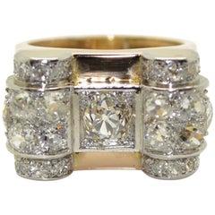 1940s 18 Karat Gold and Platinum French Tank Ring, 3.60 Carat Diamonds