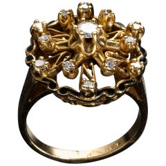 Vintage Diamond Gold Ring, USA, 1940s