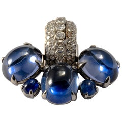 1980-1990 Cabochon Diamond and Sapphire 18K Gold Set Earrings and Pin Brooch