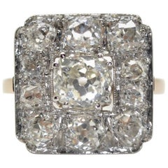 18 Karat Pink Gold and Platinum 2.20 Carat Diamonds French Antique Cluster Ring