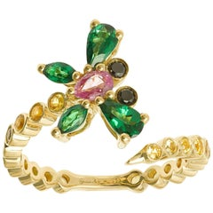 Yvonne Leon's Ring Dragonfly with Multicolored Sapphires and Tsavorites