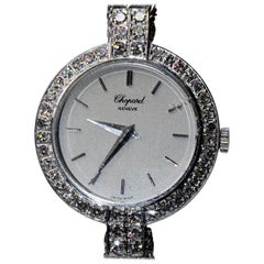 "Chopard 18 Karat White Gold Ladies Watch with Diamonds ""Happy Diamond"""