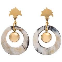 Fouché Dangle Earrings Art Deco Horn Africa