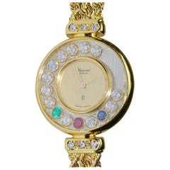 Chopard Happy Diamond 18k Gold Ladies Watch, Diamonds, Sapphire, Ruby, Emerald