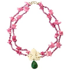 Coral Branch Ruby Carved Bone Emerald Gold Necklace