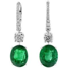 GRS Certified Zambian Emerald Diamond Earrings, 15.23 Carat