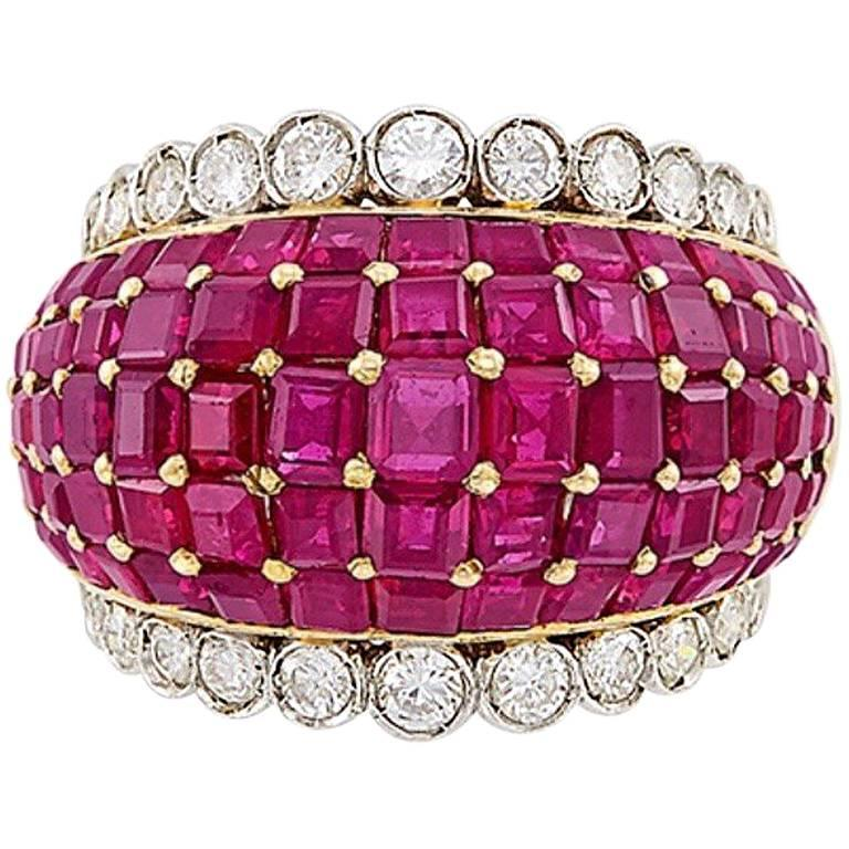 Two-Color Gold, 7 Carat Ruby and Diamond Bombé Ring