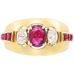 18 Karat Gold, Oval Ruby and Diamond Ring
