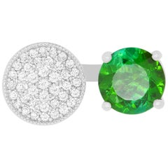1.50 Carat Green Tourmaline and Diamond Disc Open Front Ring