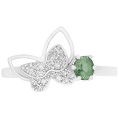 Oval Natural Color Changing Alexandrite and Diamond Butterfly Ring