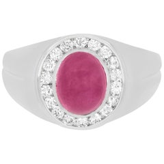 3.51 Carat Ruby and 0.45 Carat Diamond Men's Ring