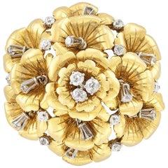 14 Karat Gold, Platinum and Three Old-Mine Diamond Domed Flower Brooch