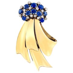 Chaumet, France, 2.65 Carat Sapphire, Gold and Diamond Pin